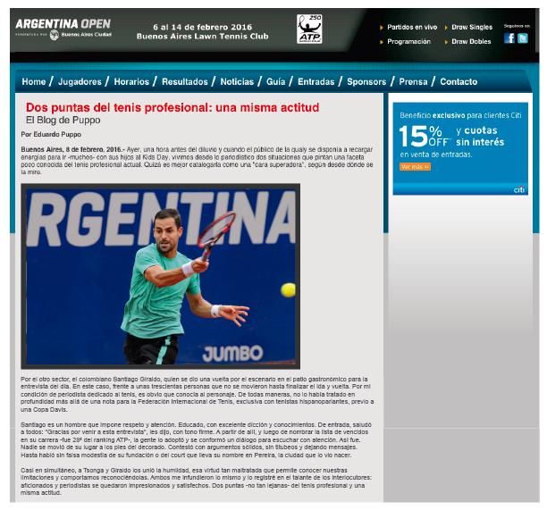 Dos puntas del tenis profesional: una misma actitud Santi Giraldo