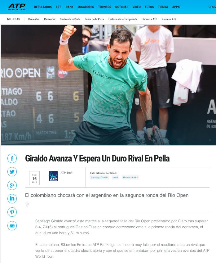 Giraldo Avanza Y Espera Un Duro Rival En Pella ATP Tenis