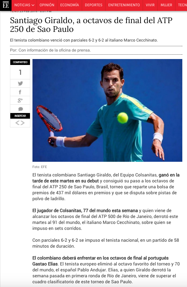 Santi Giraldo a octavos de final en Brasil Open Sao Paulo